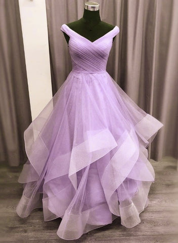 Lavender Tulle Sweetheart Layers Princess Long Party Dress, Tulle Floor Length Prom Dress