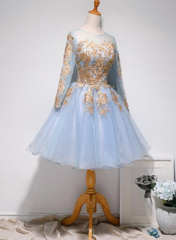 Light Blue Long Sleeves with Gold Lace Cute Homecoming Dress, Blue Short Prom Dress