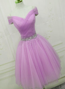 Light Purple Beaded Cute Tulle Homecoming Dress, Short Prom Dress Party Dress