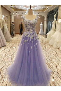 Light Purple Flower Lace Applique Tulle A-line Formal Dress, Purple Prom Dress Evening Dress