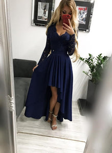 Navy Blue Chiffon and Lace High Low Wedding Party Dress, Long Sleeves Formal Dress