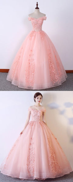 Charming Embroidery Lace Applique Long Quinceanera Dress, Sweet 16 Prom Dress