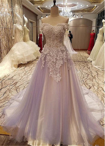 Charming Light Purple Tulle Sweeteart Flowers Long Formal Dress, Purple Prom Dress