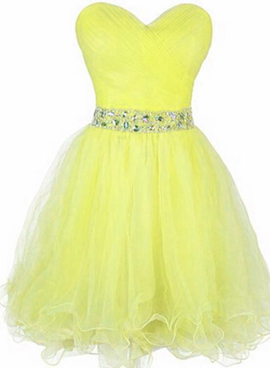 Lovely Yellow Tulle Sweetheart with  Beaded Homecoming Dress, Yellow Short Formal Dress