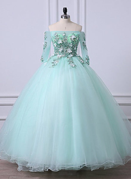Mint Green Tulle Off Shoulder Long Sleeve Lace Applique Sweet 16 Prom Dress, Formal Dress