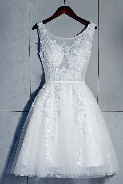 Cute White A-line Knee Length Lace Graduation Dress, Short Party Dress