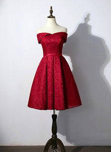 wine red lace short party dress