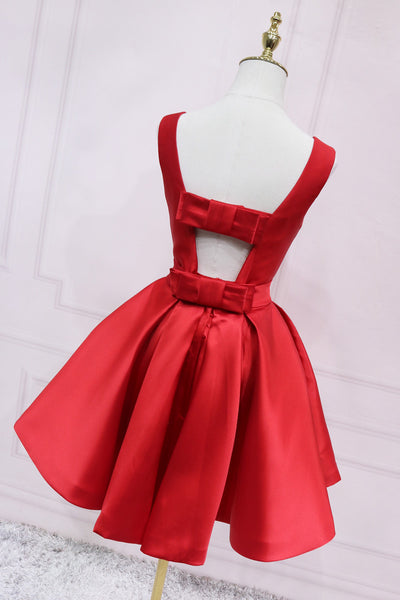 Red Satin Short Simple Backless Party Dress, Red Homecoming Dress