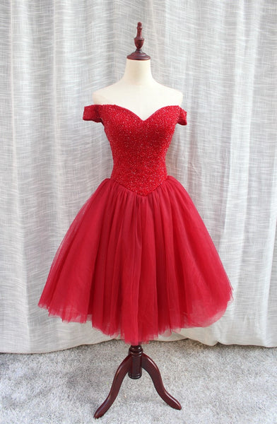 Gorgeous Sparkle Beaded Off Shoulder Red Formal Dress, Red Homecoming Dresses