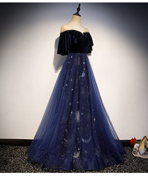 Beautiful Blue Tulle Long Party Dress, A-line Off Shoulder Formal Dress Bridesmaid Dress