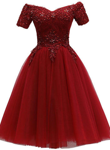 Cute Burgundy Off Shoulder Tulle Party Dress, Wine Red Homecoming Dress