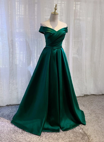 Charming Dark Green Long Junior Prom Dress, Off Shoulder Evening Gown