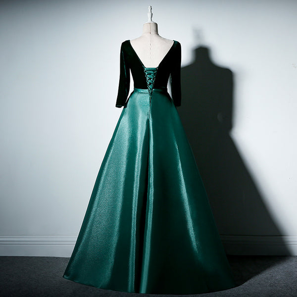 Beautiful Satin and Velvet Short Sleeves Prom Dress, A-line Green Party Dress