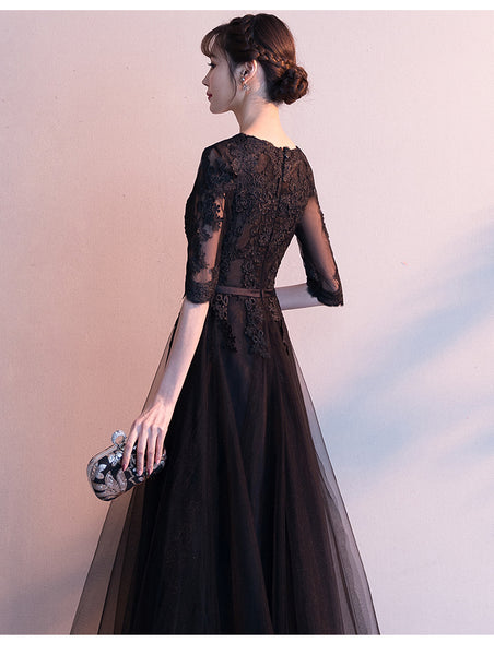 Black Tulle Long A-line Prom Dress, Black Short Sleeves Bridesmaid Dress