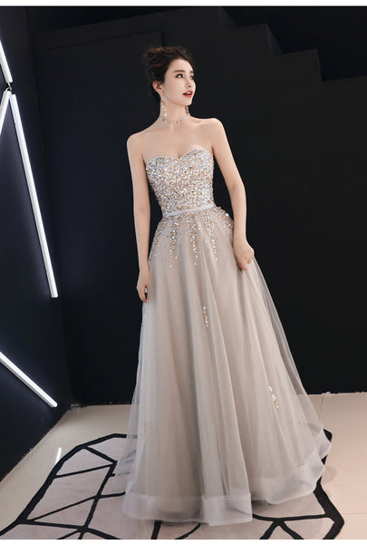 Grey Sweetheart Beaded Floor Length Junior Prom Gown, Charming Formal Dress 2019