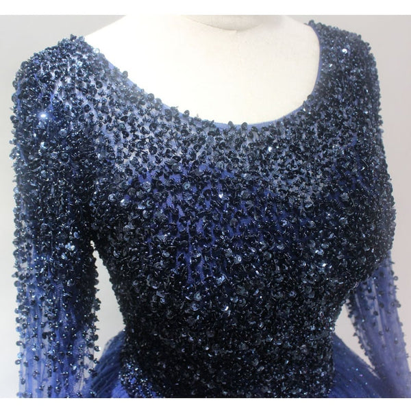 Beautiful Navy Blue Beaded Long Sleeves Party Dress, Blue Evening Gown