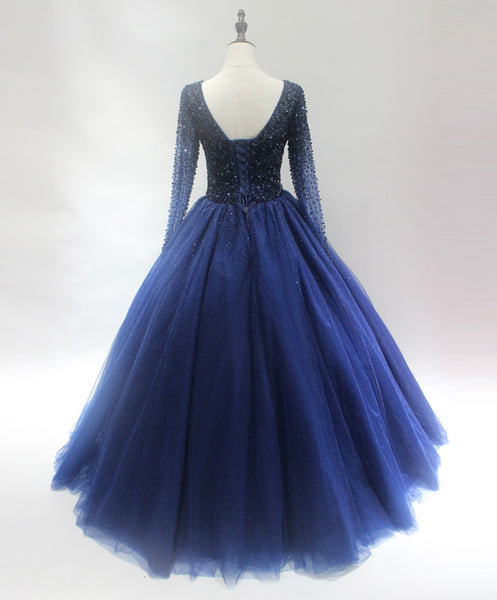 Beautiful Navy Blue Beaded Long Sleeves Party Dress, New Blue Sweet 16 Gown