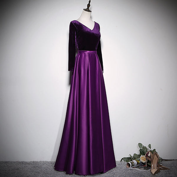 Beautiful Satin and Velvet Long Party Dress, A-line Long Sleeves Prom Dress
