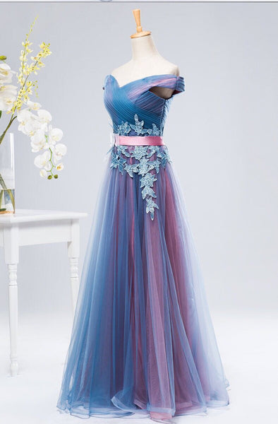 Charming Blue and Purple Sweetheart Long Formal Gown, Bridesmaid Dress