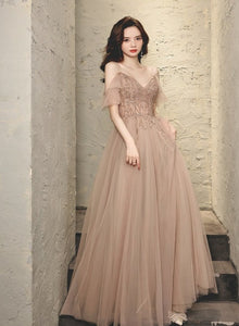 Charming Pink V-neckline Beaded Tulle Straps Prom Dress, Pink Party Dress Evening Dress