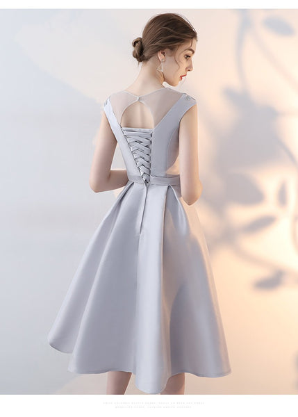 Simple Cute Sliver Grey Satin Homecoming Dress, Short Prom Dress 2021