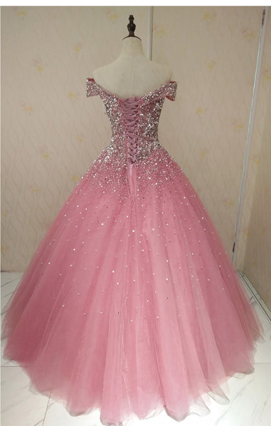 Lovely Pink Tulle Off Shoulder Sweet 16 Party Dress, Long Formal Gown