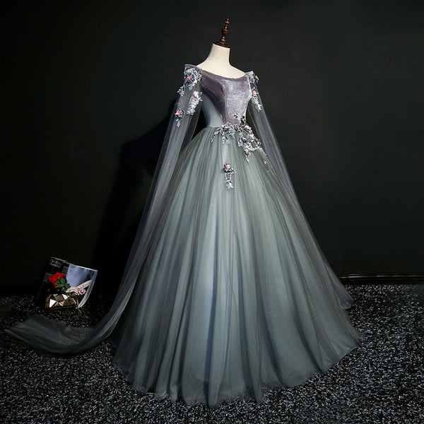 Charming Tulle with Green Long Party Dress, Sweet 16 Gown