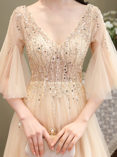 Light Champagne Tulle Slit Beaded Long Prom Dress, Sexy A-line Sequins Formal Dress