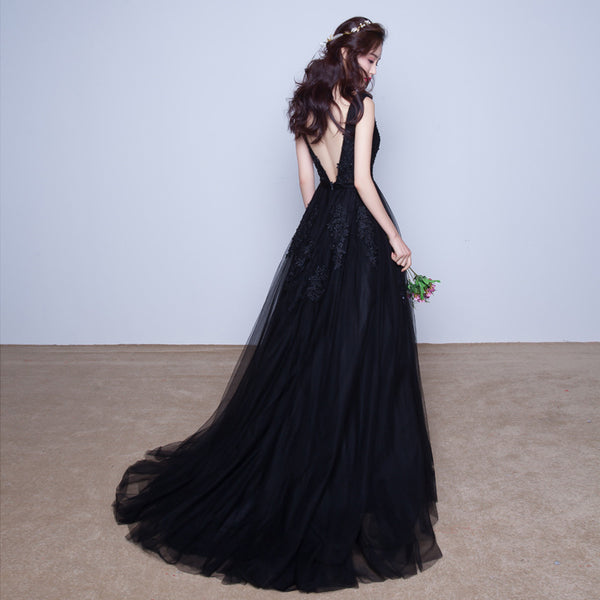 Eleagnt Tulle Long Party Dress 2020, V Backless Long Bridesmaid Dress
