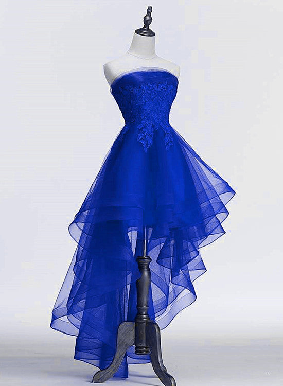 Royal Blue Tulle with Lace Applique High Low Party Dress, Blue Homecoming Dress