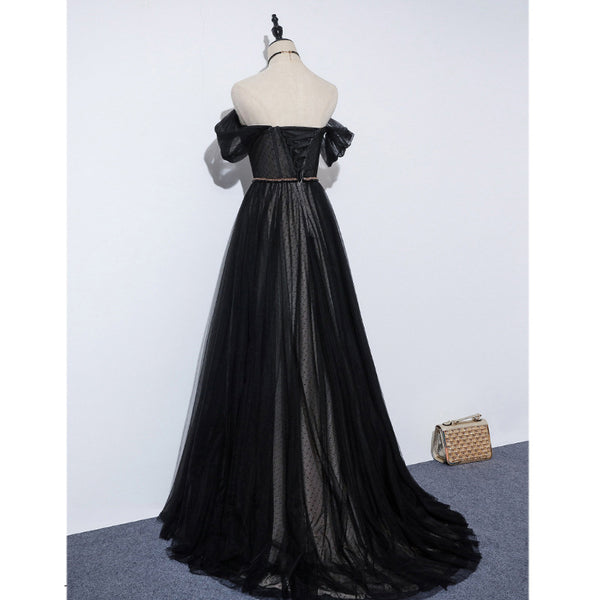 Black Off Shoulder Sweetheart Tulle Long Party Dress, A-line Prom Dress Evening Dress