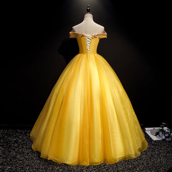 Beautiful Yellow Tulle Sweet 16 Dresses, Ball Gown Dress, Off Shoulder Formal Dress
