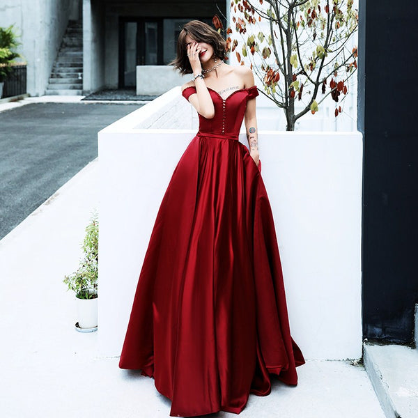 Beautiful Dark Red Long Satin Party Dress, Off Shoulder New Prom Dress