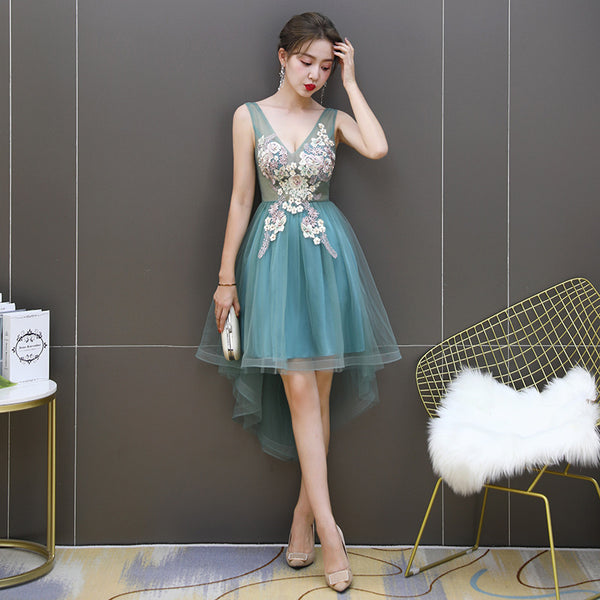 Adorable Cute Short High Low Green Homecoming Dress, Short Prom Dress