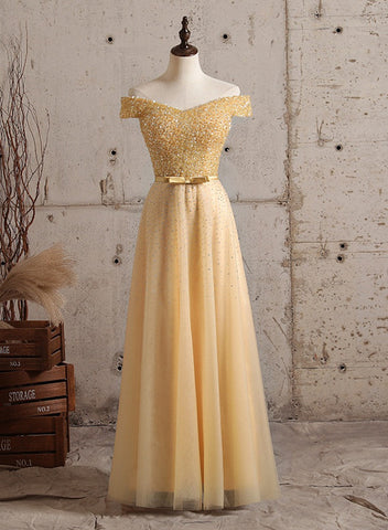 Sequins Top Off Shoulder Long Party Dress, A-line Prom Dress Evening Dress