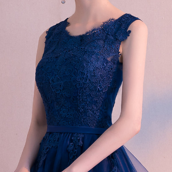 Navy Blue Mini Tulle and Lace Party Dress, Short Prom Dress 2020