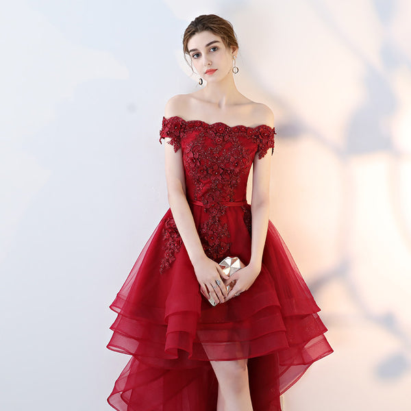 Cute Off Shoulder High Low Homecoming Dress, Fashion Short Party Dress