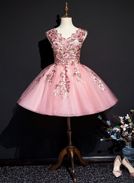 Beautiful Pink Tulle Flowers Homecoming Dress, Short Pink Teen Formal Dress