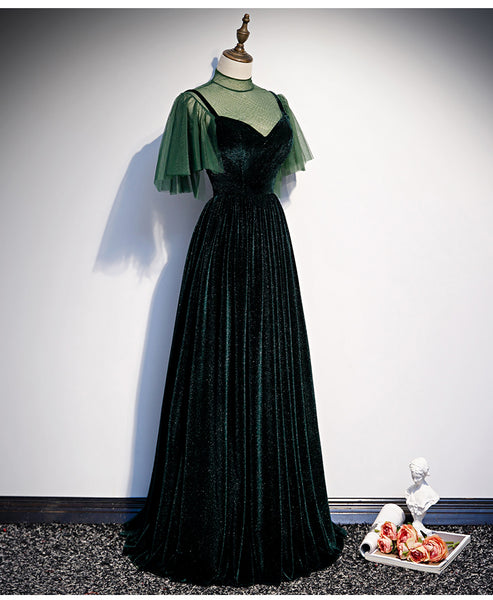 Fashionable Dark Green Velvet Long Party Gown, Green Bridesmaid Dress