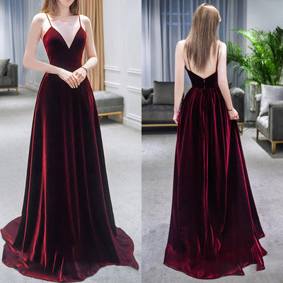 Charming Velvet Wine Red Straps Long Party Gown, Prom Dress 2020