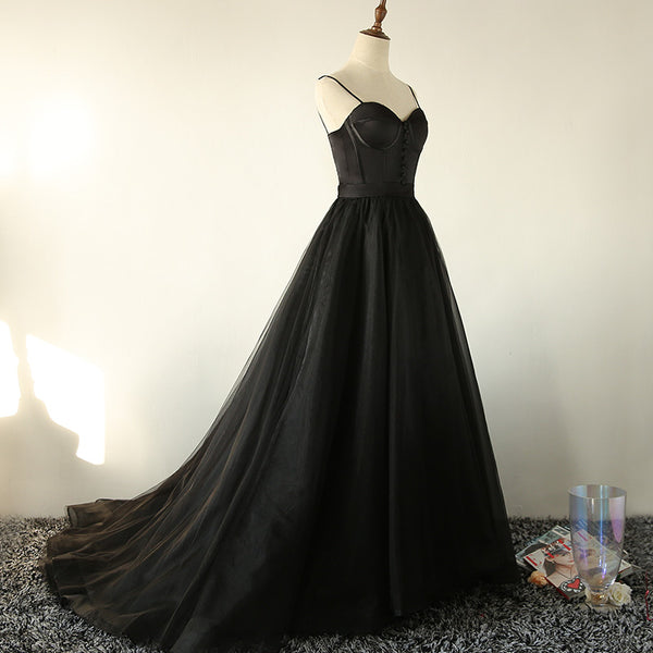 Elegant Black Straps Tulle Sweetheart Prom Dress, Black Party Dress 2020