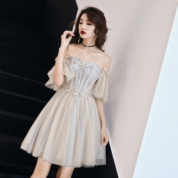 Cute Grey Tulle Sweetheart Party Dress 2020, Short Prom Dress