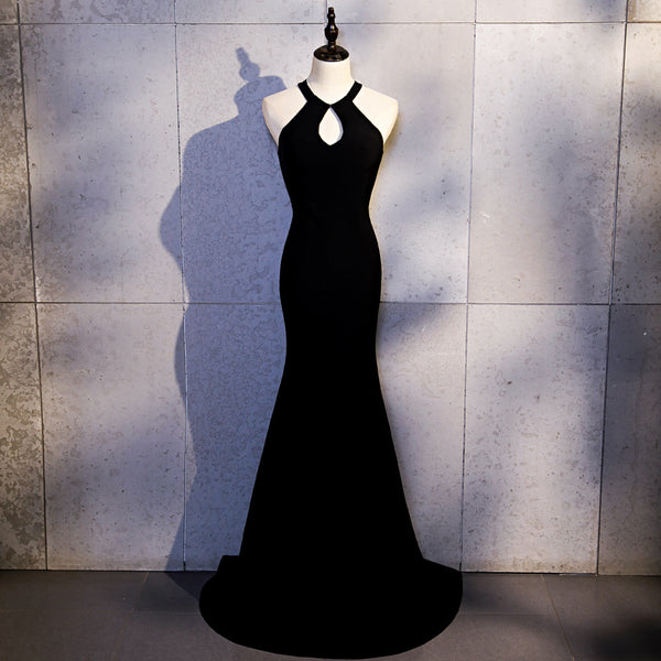 Sexy Black Mermaid Long Halter Evening Dress, Black Prom Dress