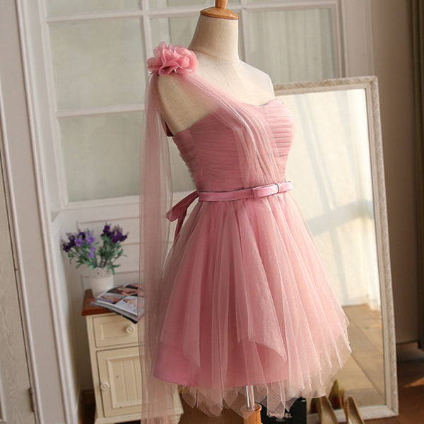 Lovely Dark Pink Sweetheart Short Party Dress, Tulle Wedding Party Dress 2019