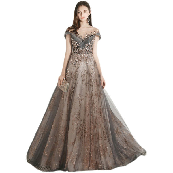 Grey and Champagne Tulle Lace Long Party Dress, A-line Formal Dress Prom Dress