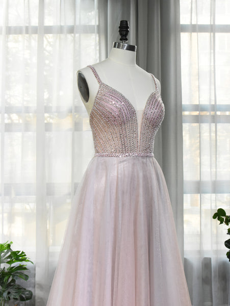 Light Pink Beaded Straps Tulle Floor Length Prom Dress, A-line Prom Dress 2021