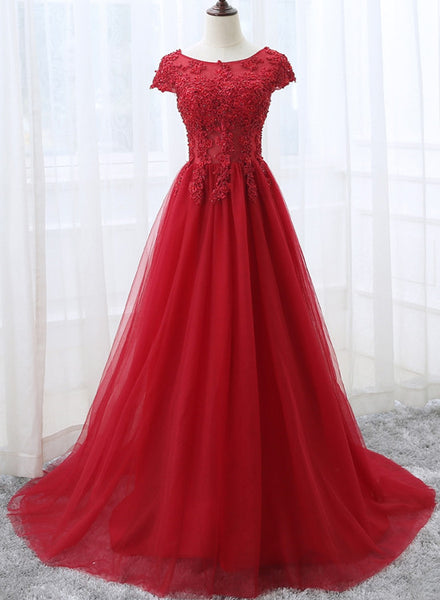 Elegant Red Tulle Long Prom Dress with Lace Applique, Red Party Gowns 2020