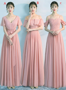 Mismatch Dark Pearl Pink Long Chiffon Bridesmaid Dress