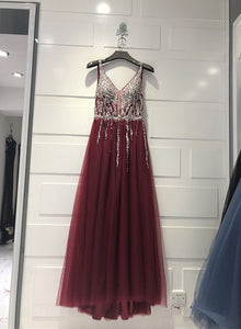 Charming Sparkle Sequins and Beaded Burgundy Party Dress, V-neckline Prom Dress