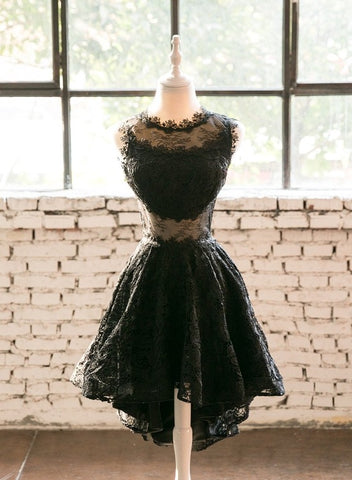 Lace Black High Low Round Neckline Party Dress, Black Homecoming Dress Prom Dress
